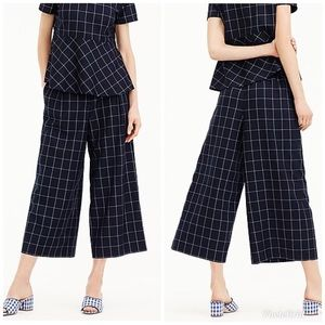 J. Crew Wide-Leg Navy Cropped Windowpane Pant